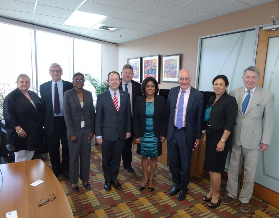 Minister Gopee-Scoon (4th from right) surrounded by the visiting BCCC team
