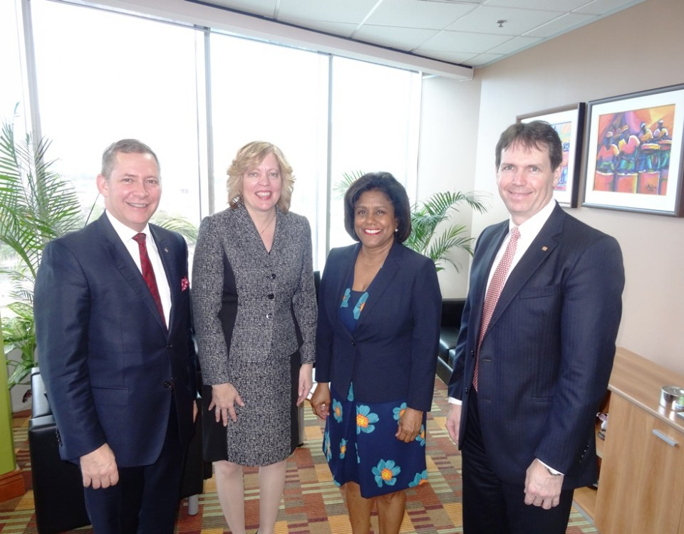 Senator Paula Gopee-Scoon (2nd right), with Mr. Brendan G. J. King, Senior Vice President, International Banking, Bank of Nova Scotia and Chairman of Scotiabank Trinidad and Tobago Limited (r);  Mr. Bruce Bowen, Senior Vice President, Caribbean Region International Banking, Bank of Nova Scotia (l); and Ms. Anya Schnoor, Anya Schnoor, Managing Director, Scotiabank Trinidad and Tobago Limited (2nd left)