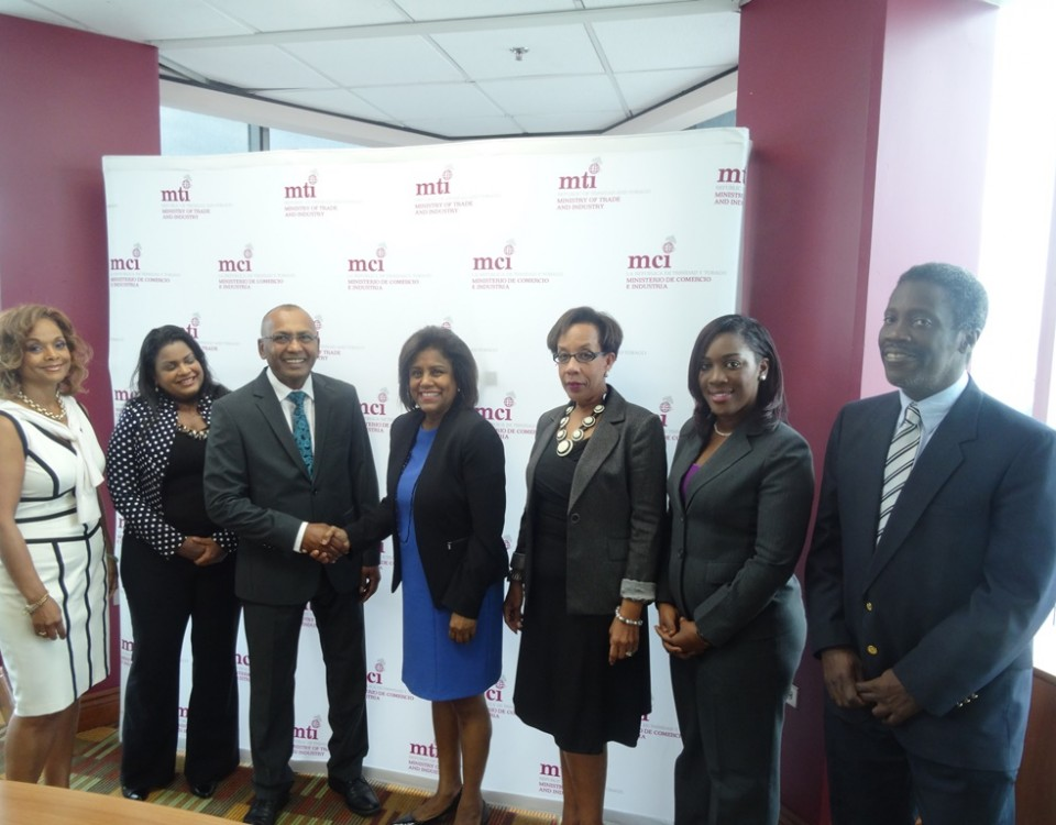 Minister Paula Gopee-Scoon (c), along with Mr. Norris Herbert, Permanent Secretary (Ag.) (r) with members of Board of Directors of invesTT Limited l-r Janelle Penny Commissiong, Amalia Maharaj, Moonilal Lalchan, Chairman of the Board, Sharon Christopher, and Petal-Ann Roberts