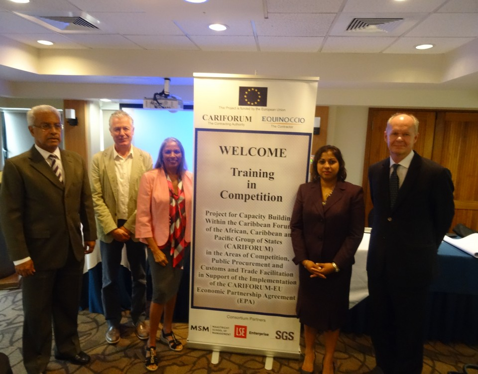 l-r - Dr. Ronald Ramkisson, Commissioner, TTFTC, Mr. Patrick Martens, Project Manager, Equinoccio, Dr. Taimoon Stewart, Consultant, Ms. Beverly Mahabir Charles, Ministry of Trade and Industry representative and Mr. Ulrich Thiessen,  EU representative
