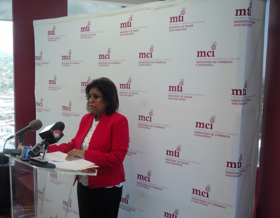 Trade Minister addresses members of the media