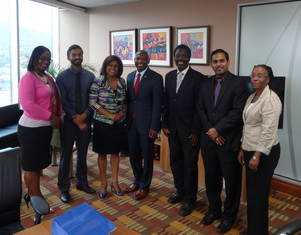 The Honourable Paula Gopee-Scoon (3rd from left) and His Excellency Estrada (4th from left) are joined by senior members of the staff of the Ministry of Trade and Industry