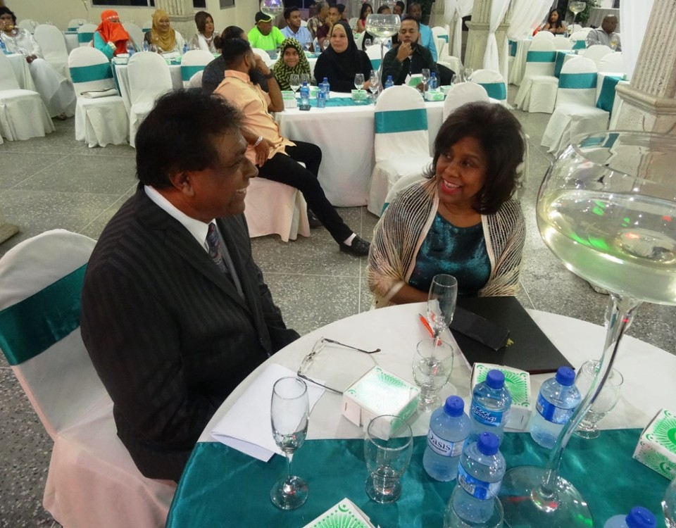 Trade Minister (r) in conversation with Mr. Rasheed Ali, President, Cunupia Business Owners' Association