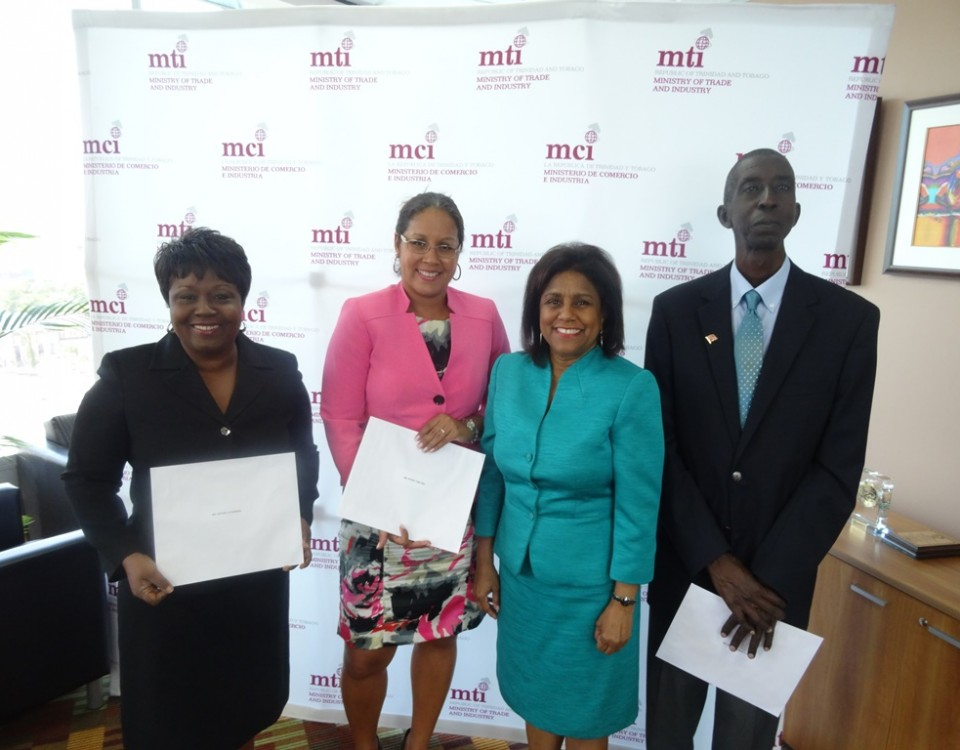 Minister Paula Gopee-Scoon (2nd right) with Chairperson Mrs. Karen Tom Yew (2nd left), Ms. Esther Le Gendre (l) and Mr. Wayne Punnette