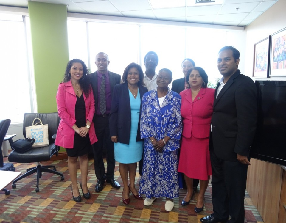 Calypso Rose (4th from right), with Senator Gopee-Scoon (3rd from left) and other officials of the Ministry of Trade and Industry