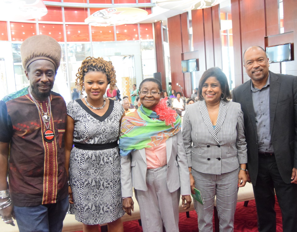 (L-R) Mr. Lutalo Masimba, President of Trinbago Unified Calypsonians' Organization, Dr. The Honourable Nyan Gadsby- Dolly, Minister of Community Development, Culture and the Arts, Dr. Linda Mc Cartha Monica Sandy- Lewis, Calypso Rose, Senator the Honourable Paula Gopee- Scoon, Minister of Trade and Industry and Mr. Calvin Bijou, Chairman of the Trinidad & Tobago Creative Industries Company Limited
