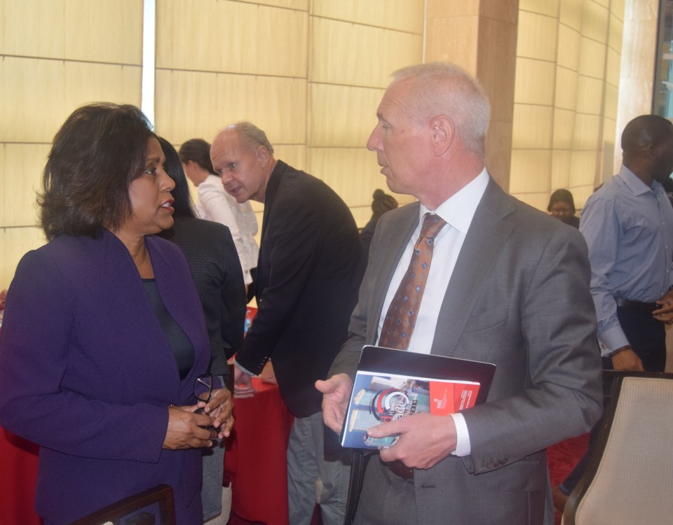 Minister Gopee-Scoon in conversation with His Excellency Ambassador Arend Biesebroek, Ambassador of the  European Union Delegation to T&T