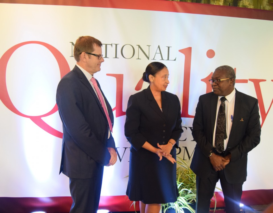 Permanent Secretary (Ag.) Frances Seignoret (centre) in conversation with Mr Theodore Reddock, Executive Director,  TTBS (right) and Dr. Ulrich Harmes-Liedtke, Mesopartner (left)