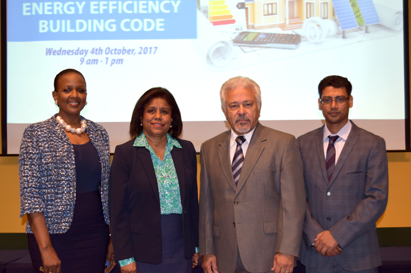 Senator the Honorable Paula Gopee Scoon is flanked by Ms Anita Hankey(l): Snr Planning Officer, Ministry of Energy and Energy Industries, Mr. Lawford Dupres: Chairmain TTBS Board of Directors (r) and Mr. Rodney Ramnath- Executive Director, TTBS