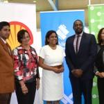 "Minister of Trade and Industry Senator the Honourable Paula Gopee-Scoon (centre) alongside YBTT Chairman Mrs Dale Laughlin (3rd from left) and General Manager Mr Shedron Colins, Mr Joshua Mangroo YBTT Entrepreneur, GEW 2017 Ambassador Mr Kerron ""Sunny Bling"" Sealy and other panellists at the launch of Global Entrepreneurship Week 2017 at the Queen's Park Oval."