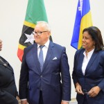Trade and Industry Minister, Paula Gopee-Scoon (right) shares a light moment with  the Honourable Bridgid Annisette-George, Speaker of the House of Representatives, Trinidad and Tobago (left) and Mr Bolesław Piecha, Member of the European Parliament and Chair of the European Parliament Delegation to the CARIFORUM-EU Parliamentary Committee (centre)