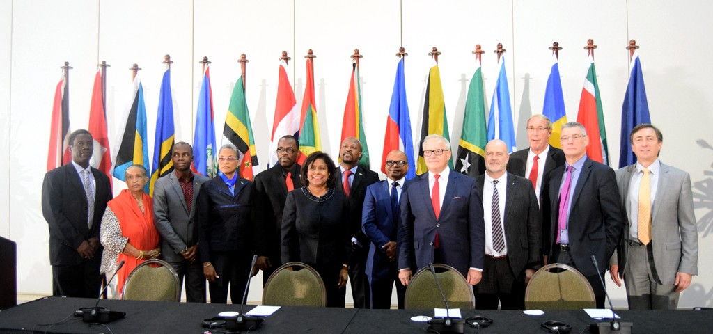 Members of the CARIFORUM and EU at the close of the Parliamentary Committee meeting.