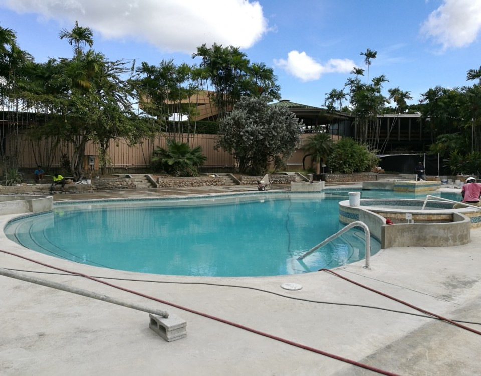 Upgrade works being undertaken at the Pool and Pool Deck at the Trinidad Hilton and Conference Centre by e TecK