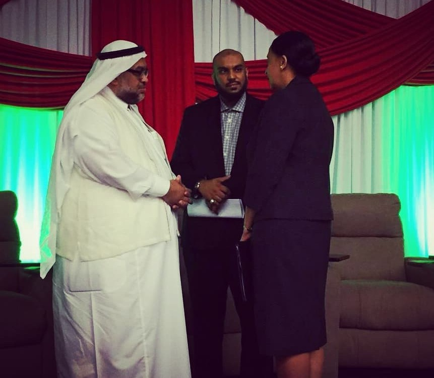Dr. Ebraheem Alabbady - Keynote Speaker, Ms. Frances Seignoret - Permanent Secretary (Ag) Ministry of Trade and Industry and Mr. Shazaad Mohammed, Trinidad-Saudi Chamber of Commerce at the First Annual Trinidad-Saudi Arabia Business Forum at the Hyatt Regency on Wednesday March 28.