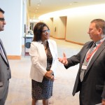 Trade Minister, Paula Gopee-Scoon (centre) and Mr. Nirad Tewari, CEO, AMCHAM (left) listen intently to Mr. Dexter Payne, Deputy Chief of Mission, US Embassy Port-of-Spain ahead of the networking session for the US Trade Mission.