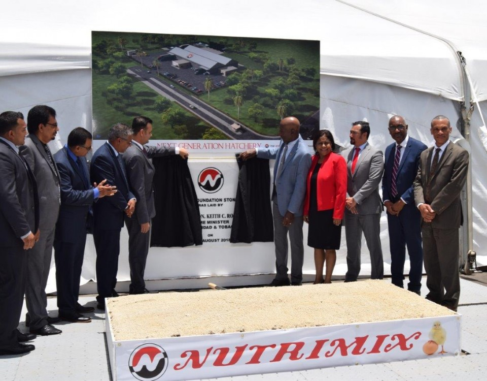 Dr the Honourable Keith Rowley, Prime Minister of Trinidad and Tobago and Mr. Shameer Ronnie Mohammed, Director of the Nutrimix unveil the foundation stone for the Nutrimix's Next Generation Hatchery