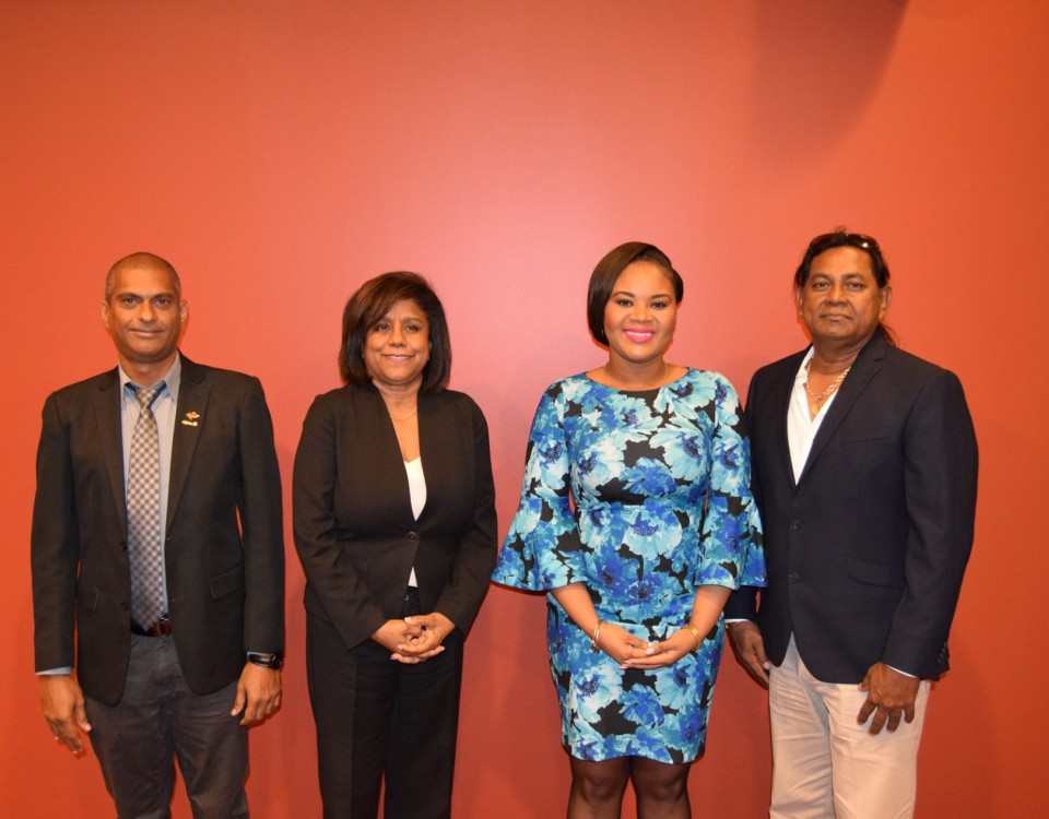 Senator the Honourable Paula Gopee-Scoon, Minister of Trade and Industry (2nd left) and the Honourable Shamfa Cudjoe, Minister of Sport and Youth Affairs (2nd right) are flanked by Mr. Fyzool Madan, President, TTASA (right) and Mr. Jameer Ali, Vice President, TTASA (left)