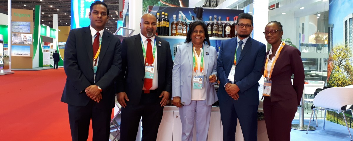 Promoting T&T Exports: eTeck Director Mr Randall Karim, His Excellency Stephen Seedansingh Trinidad and Tobago's High Commissioner to China, Senator the Honourable Paula Gopee-Scoon Minister of Trade and Industry, Mr Ashmeer Mohamed Chairman exporTT and Ms Roann David of exporTT  at the Caricom Pavilion at the First China International Import Exposition (CIIE) in Shanghai, China on November 5, 2018.