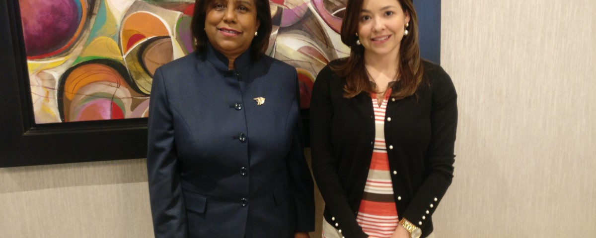Trade Minister Paula Gopee-Scoon (left) and Ms Laura Valdivieso, Vice Minister of Foreign Trade, Colombia (right) following their meeting.