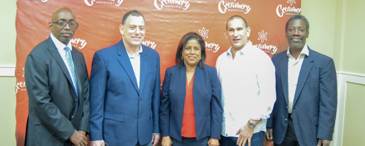 l-r President of InvesTT Mr Christopher Lewis, Mr Paul Gabriel of Creamery Novelties, Minister of Trade and Industry Senator the Honourable Paula Gopee-Scoon Mr John Hadad Creamery CEO and Mr Norris Herbert Permanent Secretary, Ministry of Trade and Industry at Creamery Novelties' factory in Diego Martin.