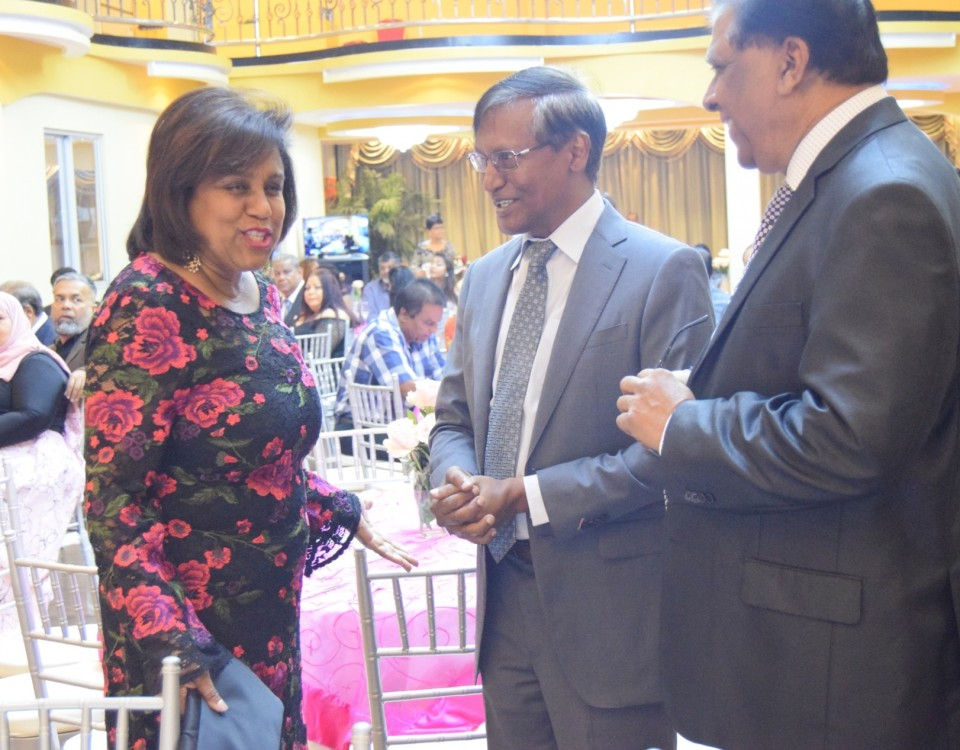 Minister of Trade and Industry shares a light moment with Cunupia Business Chamber President Mr Rasheed Ali President and Mr. Vishnu Charran, President, Chaguanas Chamber of Industry and Commerce at the Chamber's Annual Awards Ceremony and Dinner held on January 19, 2019.