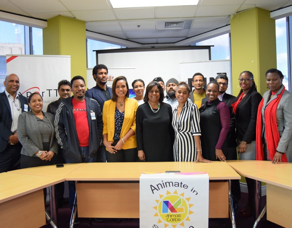 Minister of Trade and Industry Senator the Honourable Paula Gopee-Scoon centre is flanked by a bevy of animators and technical staff including and Ms Camille Selvon Abrahams (left of Minister) the coordinator of the inaugural participation of four local animators in the 2019 Kidscreen Summit.