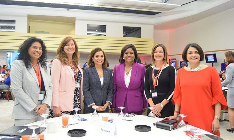 Minster of Trade and Industry Senator the Honurable Paula Gopee-Scoon (3rd from right) and members of the head table at AMCHAMs 2019 Women's Leadership Conference 2019.