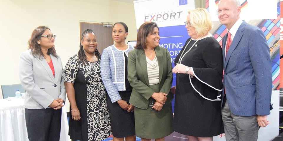 l-r Ms Vashti Guyadeen, General Manager TTCSI, Ms. Allyson Francis Services Specialist, Caribbean Export Development Agency, Ms. Sanya Alleyne Technical Trade Advisor, GIZ, Minister of Trade and Industry  Senator the Honourable Paula Gopee-Scoon, Ms Lara Quentrall-Thomas President of the TTCSI and Representative from the Delegation of the European Union to T&T Mr. Ulrich Thiessen at the Opening of Creative and Cultural Industries Workshop at the Trinidad Hilton on March 27, 2019.